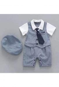 Tenue bébé baptême cortège bleu jean