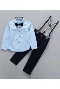 Ensemble garcon bretelles chemisette nœud papillon